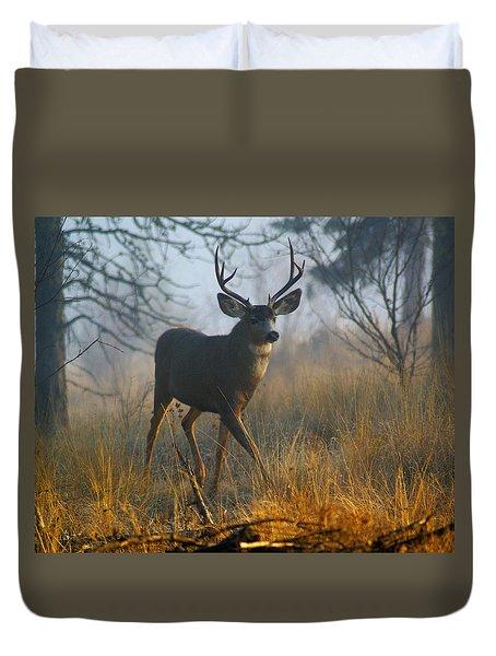 Misty Morning Buck Duvet Cover by Ben Upham