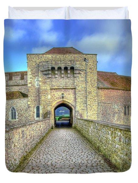 Moat House Leeds Castle Duvet Cover by Chris Thaxter