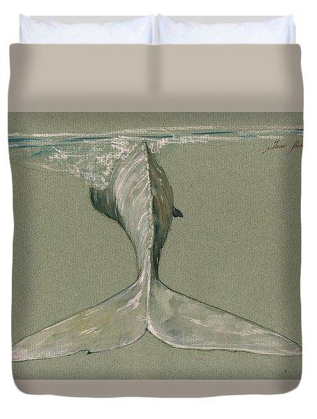 Moby Dick The White Sperm Whale  Duvet Cover by Juan  Bosco