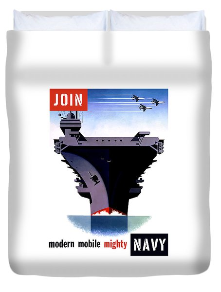 Modern Mobile Mighty Navy Duvet Cover by War Is Hell Store