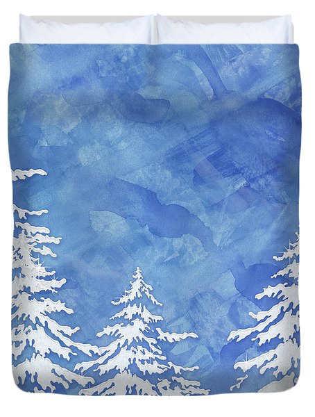Modern Watercolor Winter Abstract - Snowy Trees Duvet Cover by Audrey Jeanne Roberts