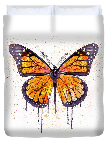 Monarch Butterfly Watercolor Duvet Cover by Marian Voicu