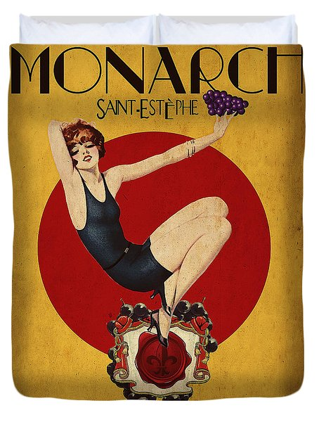 Monarch Wine a vintage style ad Duvet Cover by Cinema Photography