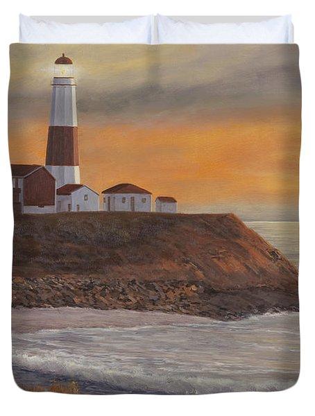 Monntauk Lighthouse Sunset Duvet Cover by Diane Romanello