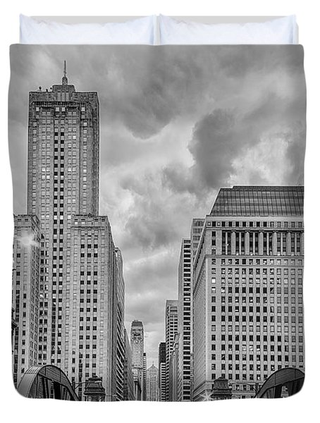 Monochrome Image Of The Marshall Suloway And Lasalle Street Canyon Over Chicago River - Illinois Duvet Cover by Silvio Ligutti