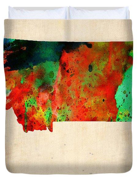 Montana Watercolor Map Duvet Cover by Naxart Studio