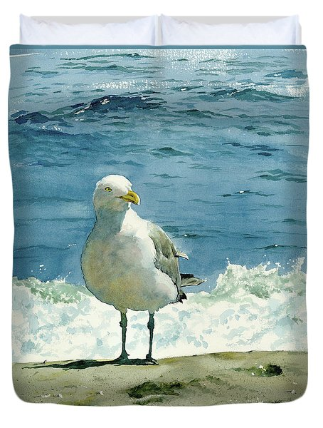 Montauk Gull Duvet Cover by Tom Hedderich