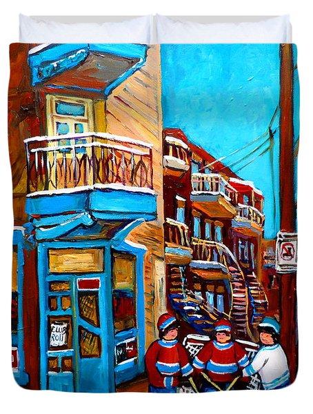 Montreal City Scene Hockey At Wilenskys Duvet Cover by Carole Spandau