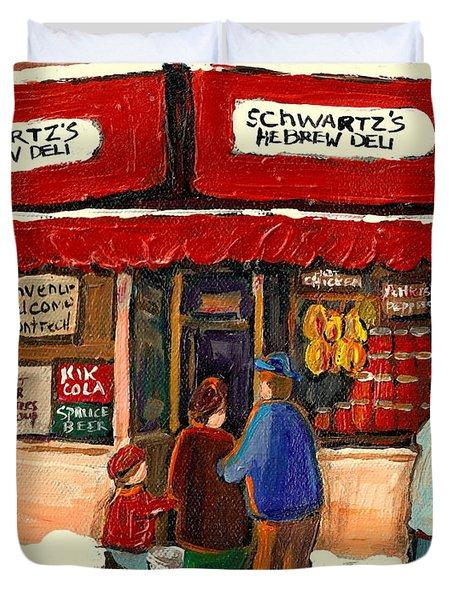 MONTREAL HEBREW DELICATESSEN SCHWARTZS BY MONTREAL STREETSCENE ARTIST CAROLE SPANDAU Duvet Cover by CAROLE SPANDAU