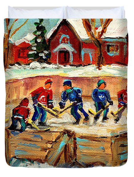 Montreal Hockey Rinks Urban Scene Duvet Cover by Carole Spandau
