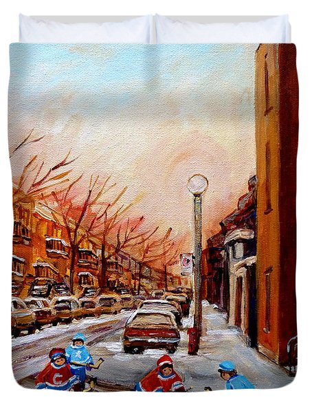 Montreal Street Hockey Game Duvet Cover by Carole Spandau