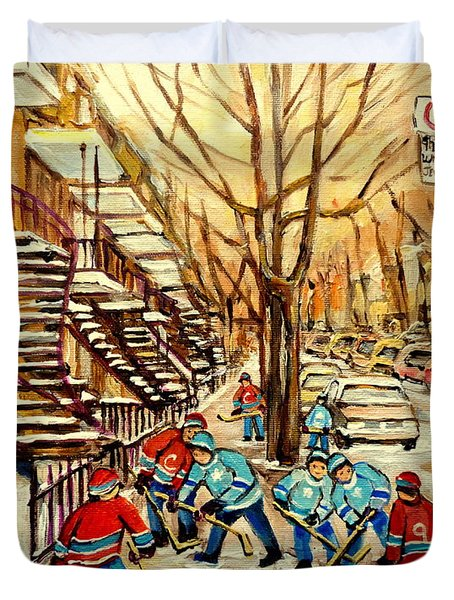 Montreal Street Hockey Paintings Duvet Cover by Carole Spandau