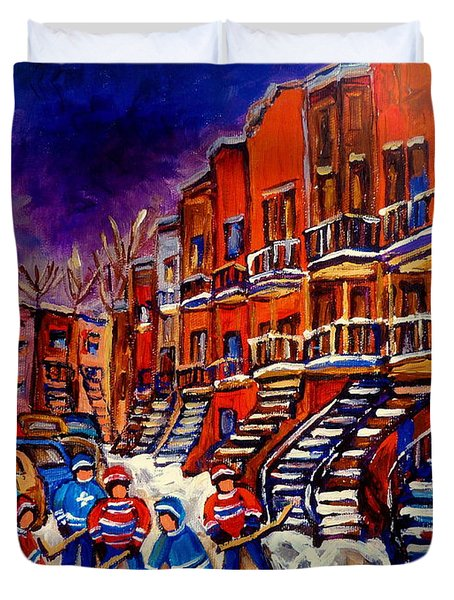 Montreal Street Scene Paintings Hockey On De Bullion Street   Duvet Cover by Carole Spandau
