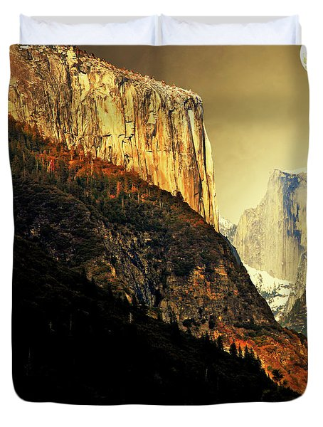 Moon Over Half Dome . Portrait Cut Duvet Cover by Wingsdomain Art and Photography