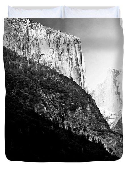 Moon Over Half Dome . Black and White Duvet Cover by Wingsdomain Art and Photography