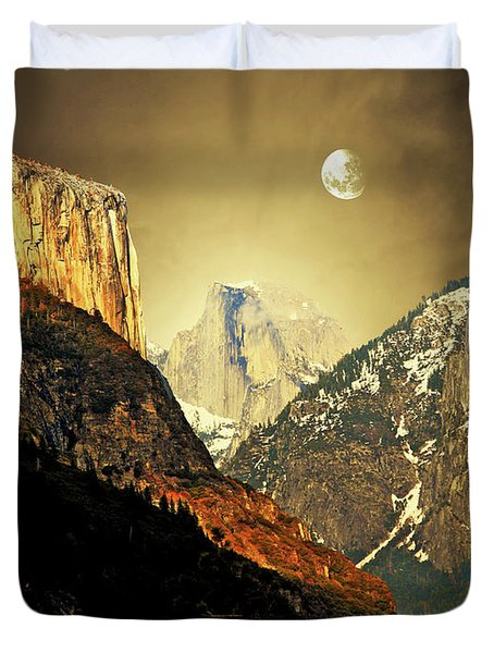 Moon Over Half Dome Duvet Cover by Wingsdomain Art and Photography