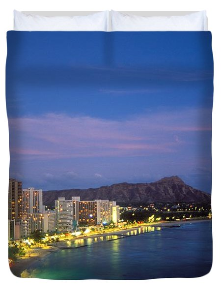 Moon Over Waikiki Duvet Cover by William Waterfall - Printscapes