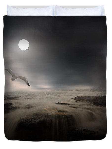 Moonlight Lighthouse Duvet Cover by Lourry Legarde