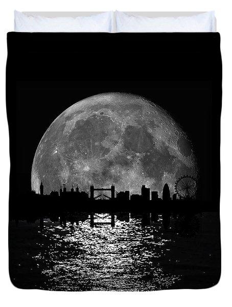 Moonlight London Skyline Duvet Cover by Mark Rogan