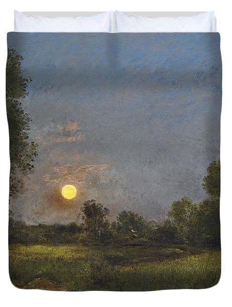 Moonrise Duvet Cover by Charles Francois Daubigny