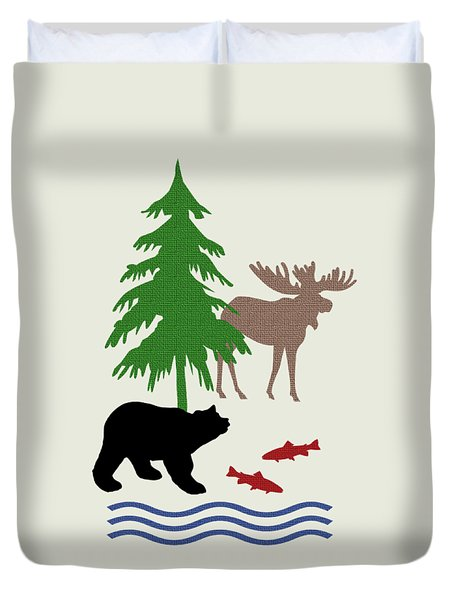 Moose And Bear Pattern Art Duvet Cover by Christina Rollo
