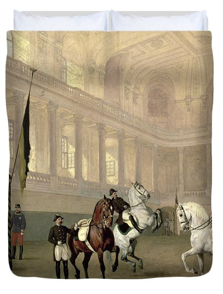 Morning Exercise In The Hofreitschule Duvet Cover by Julius von Blaas