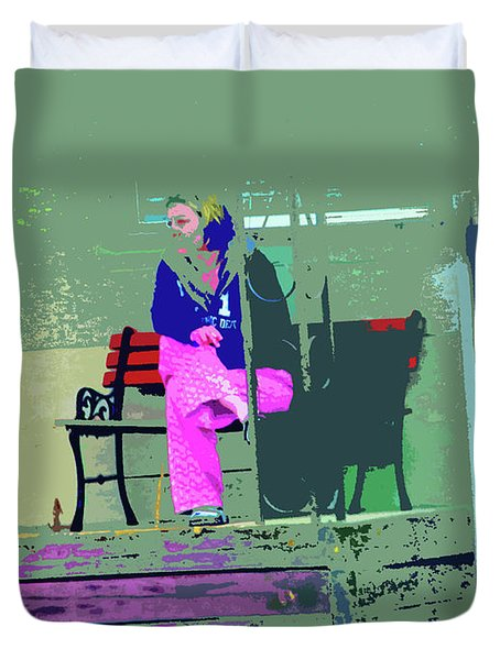 Morning in Her Pink Pajamas Duvet Cover by Lenore Senior