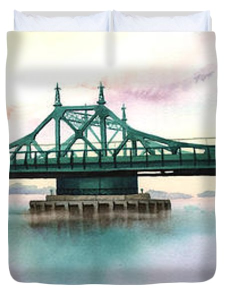 Morning Mist City Island Bridge Duvet Cover by Marguerite Chadwick-Juner