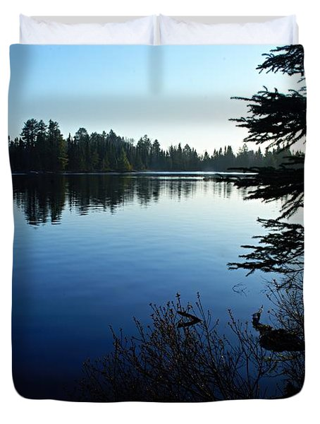 Morning On Chad Lake Duvet Cover by Larry Ricker