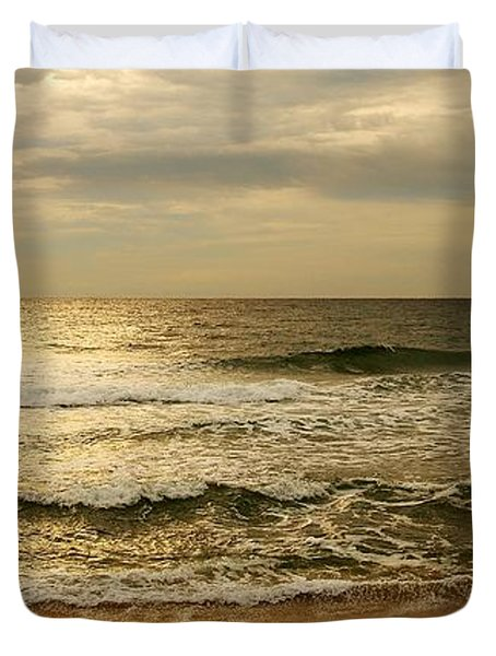 Morning On The Beach - Jersey Shore Duvet Cover by Angie Tirado