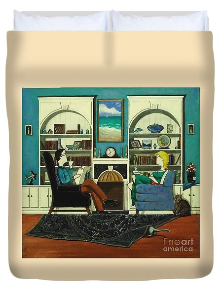Morning With The Cats While Sitting In Chairs Duvet Cover by John Lyes