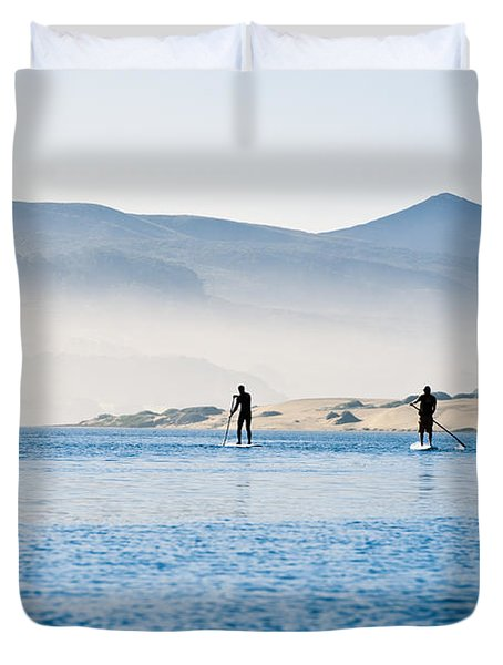 Morro Bay Paddle Boarders Duvet Cover by Bill Brennan - Printscapes