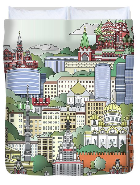 Moscow City Poster Duvet Cover by Pablo Romero