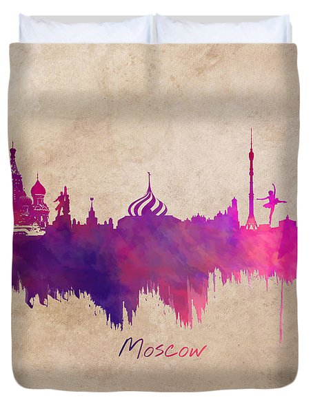 Moscow Russia Skyline Purple Duvet Cover by Justyna JBJart