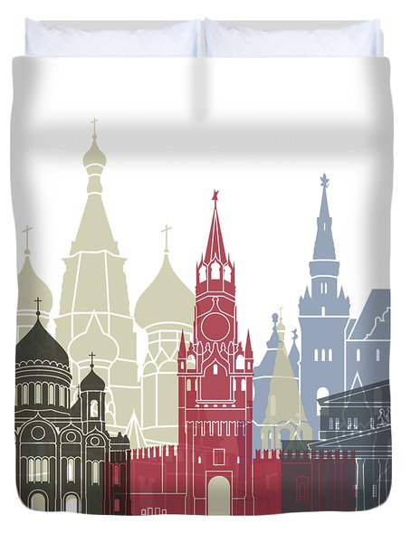 Moscow Skyline Poster Duvet Cover by Pablo Romero
