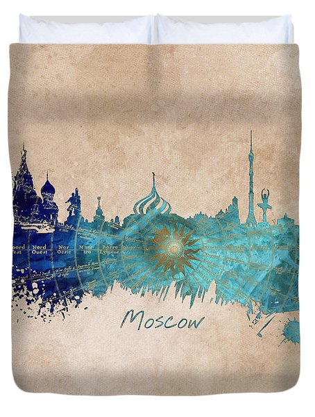 Moscow Skyline Wind Rose Duvet Cover by Justyna JBJart