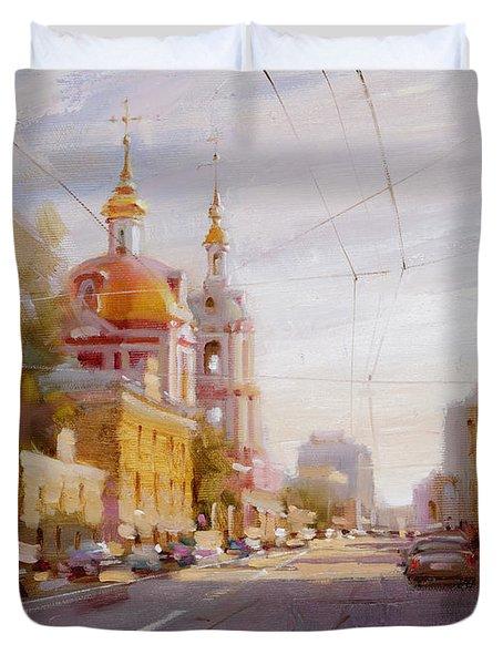 Moscow. Staraya Basmannaya Street Duvet Cover by Ramil Gappasov