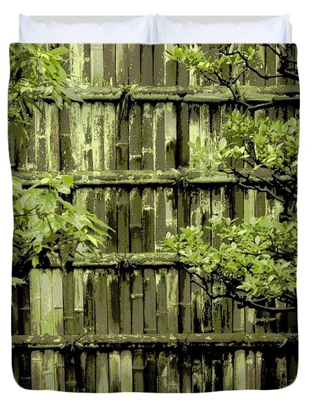 Mossy Bamboo Fence - Digital Art Duvet Cover by Carol Groenen