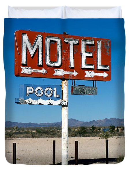 Motel Sign On I-40 And Old Route 66 Duvet Cover by Scott Sawyer