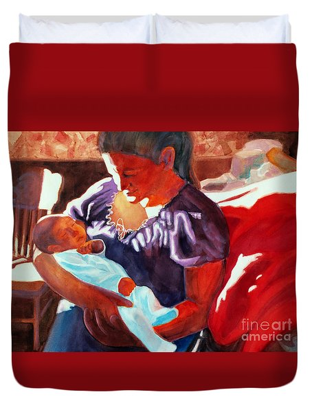 Mother And Newborn Child Duvet Cover by Kathy Braud