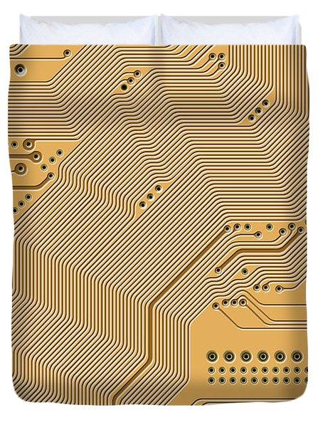 Motherboard - Printed Circuit Duvet Cover by Michal Boubin