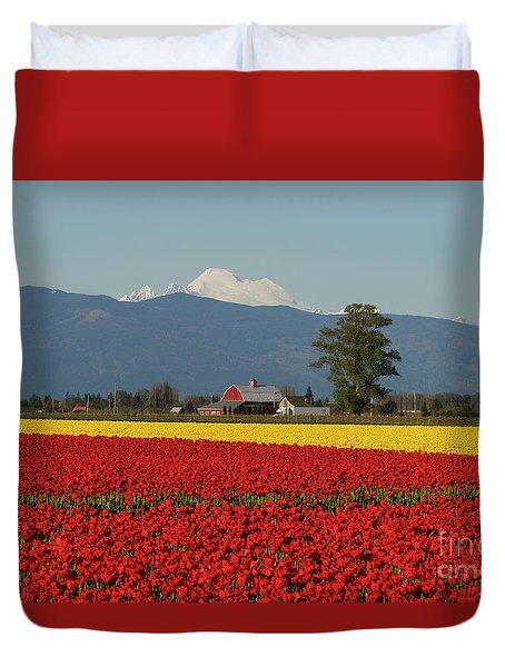 Mount Baker Skagit Valley Tulip Festival Barn Duvet Cover by Mike Reid