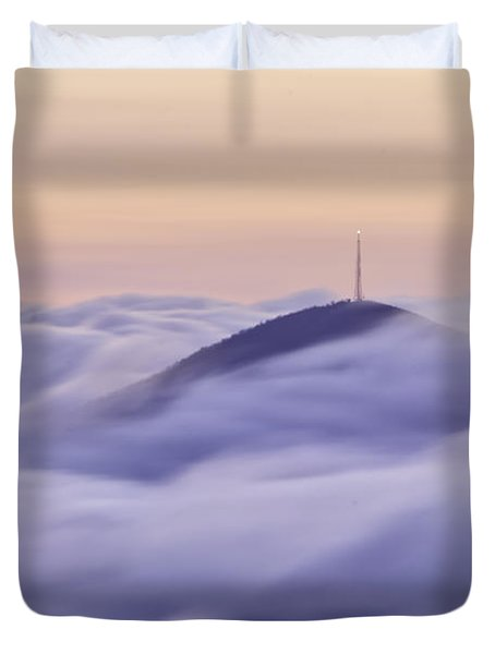 Mount Pisgah in the Clouds Duvet Cover by Rob Travis