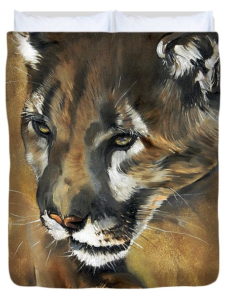 Mountain Lion - Guardian Of The North Duvet Cover by J W Baker