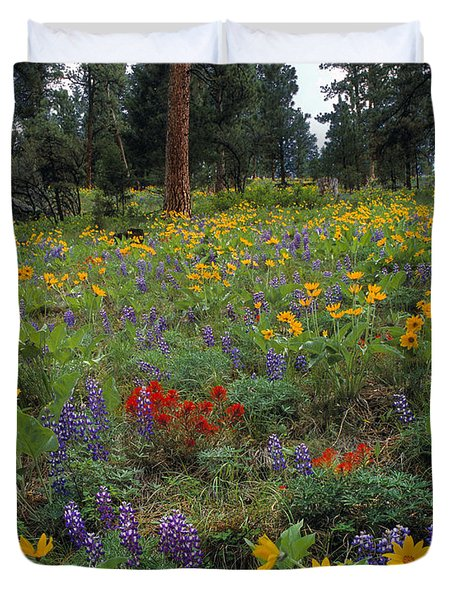 Mountain Wildflowers Duvet Cover by Leland D Howard