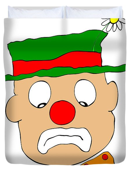 Mournful Clown Duvet Cover by Michal Boubin