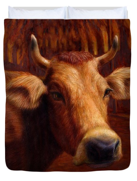 Mrs. O'Leary's Cow Duvet Cover by James W Johnson