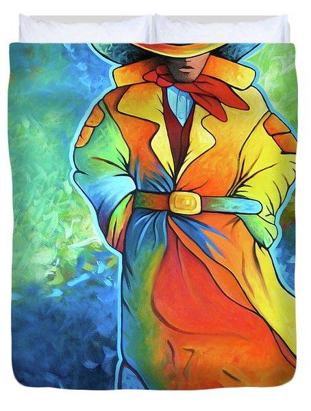 Multi Color Cowboy Duvet Cover by Lance Headlee