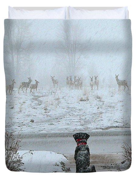 Murphy Watches The Deer Duvet Cover by Eric Tressler