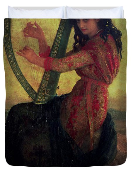 Muse Playing The Harp Duvet Cover by Antoine Auguste Ernest Hebert